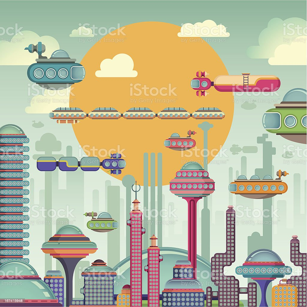 Comic futuristic city. vector art illustration