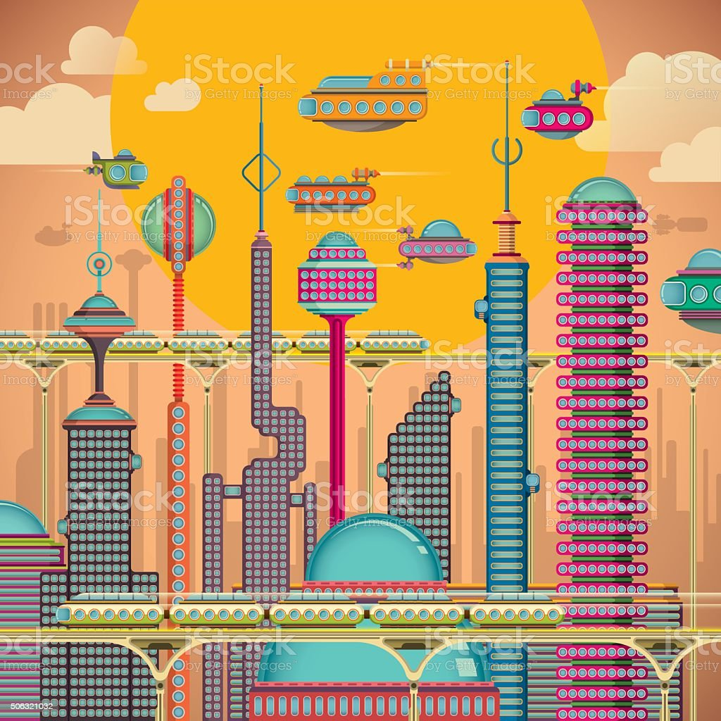 Comic futuristic city. vector art illustration