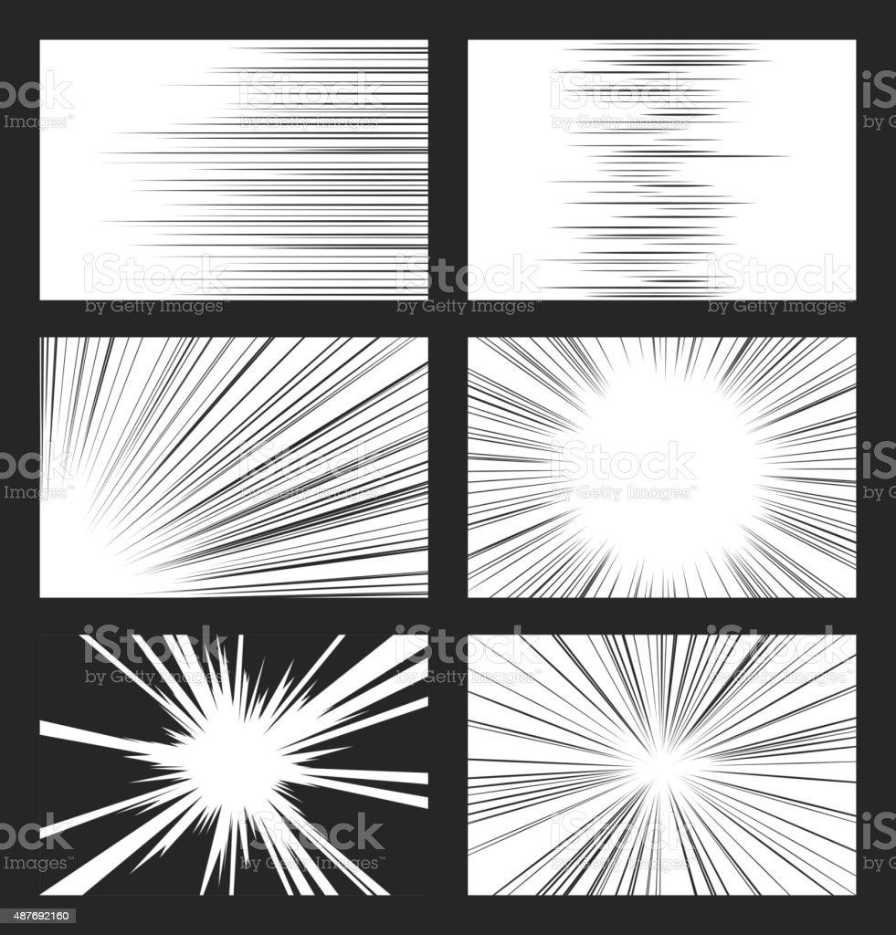 Comic horizontal and radial speed lines vector set vector art illustration