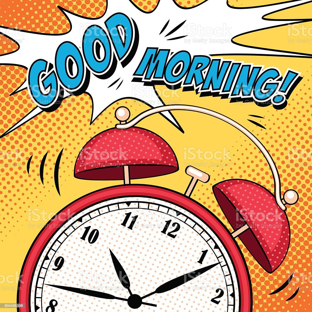 Comic illustration with alarm clock in pop art style vector art illustration