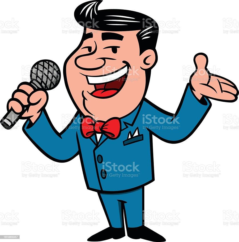 Comic image of an announcer making a speech vector art illustration
