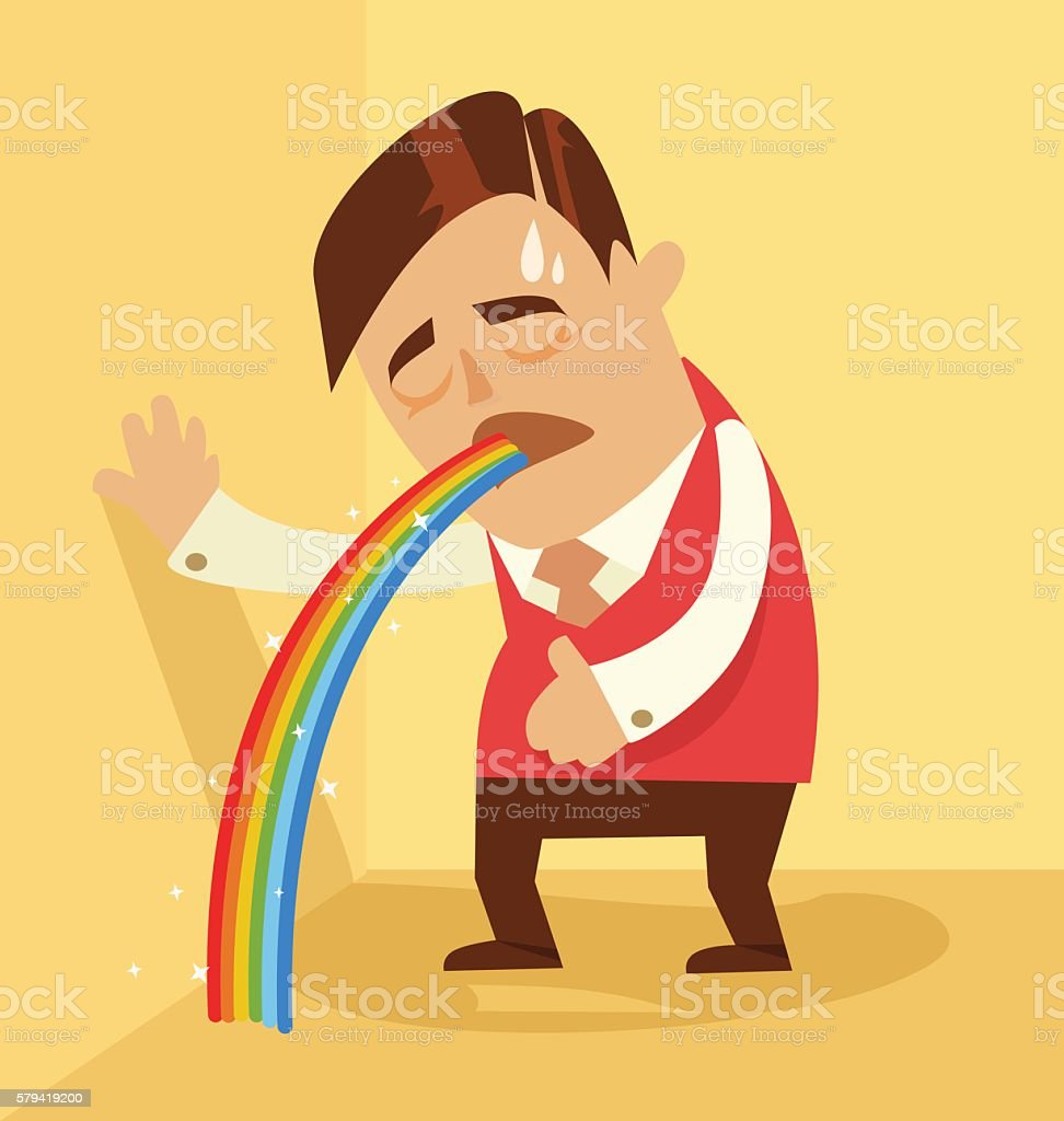 Comic man character pukes rainbow vector art illustration