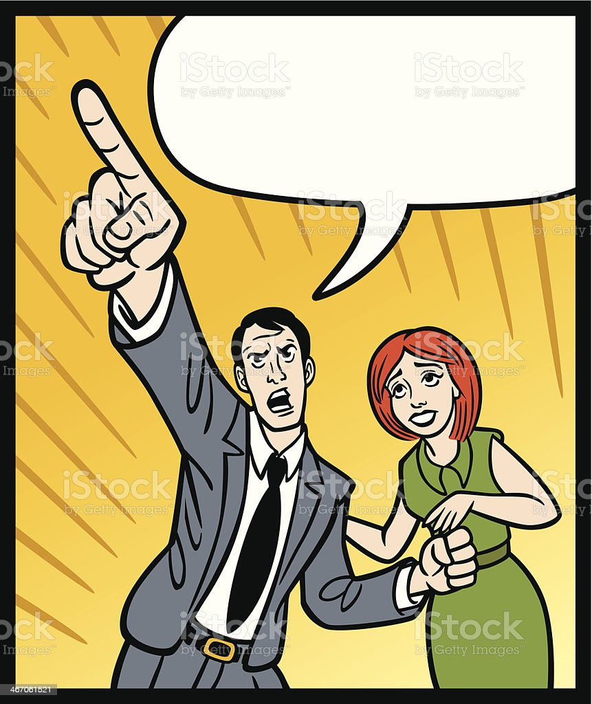 Comic Man Pointing With Woman vector art illustration