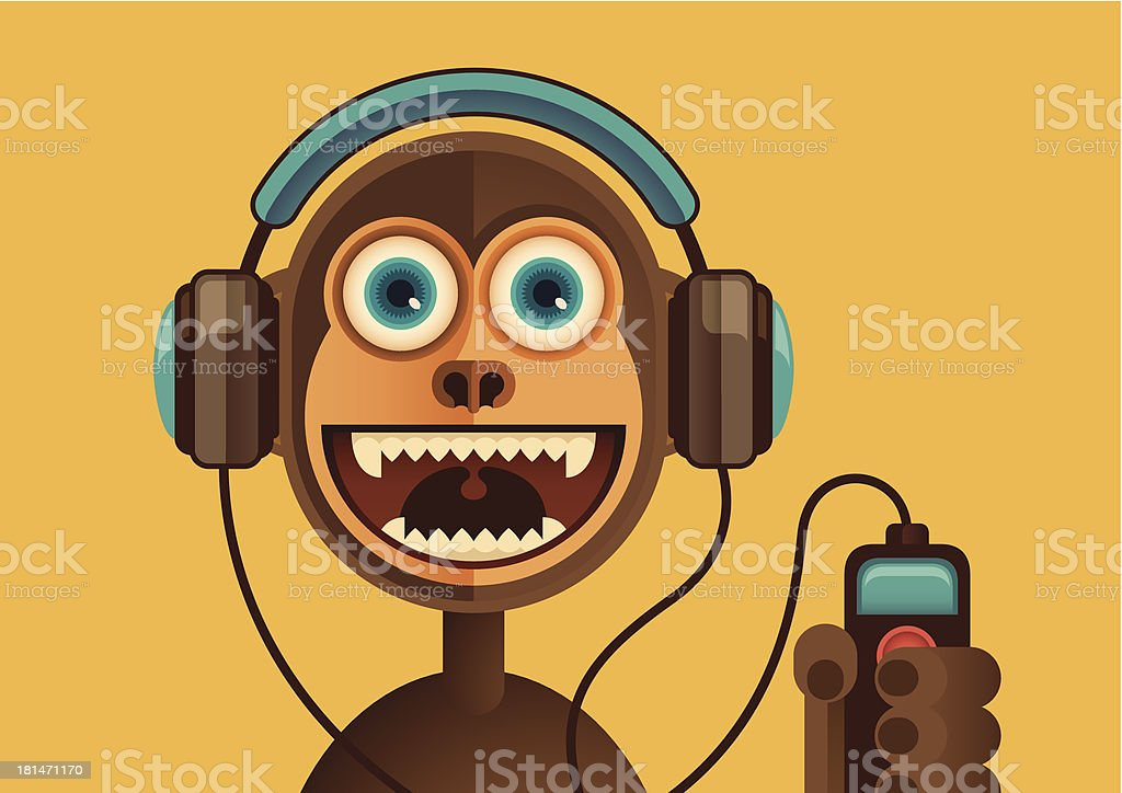 Comic monkey with headphones. royalty-free stock vector art