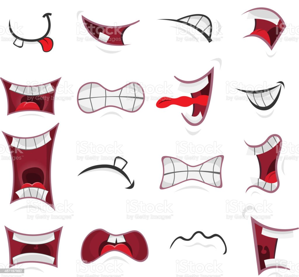 Comic Mouth Set vector art illustration