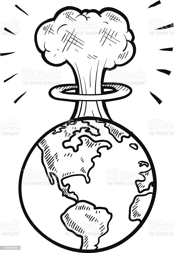 Comic nuclear apocalypse sketch vector art illustration