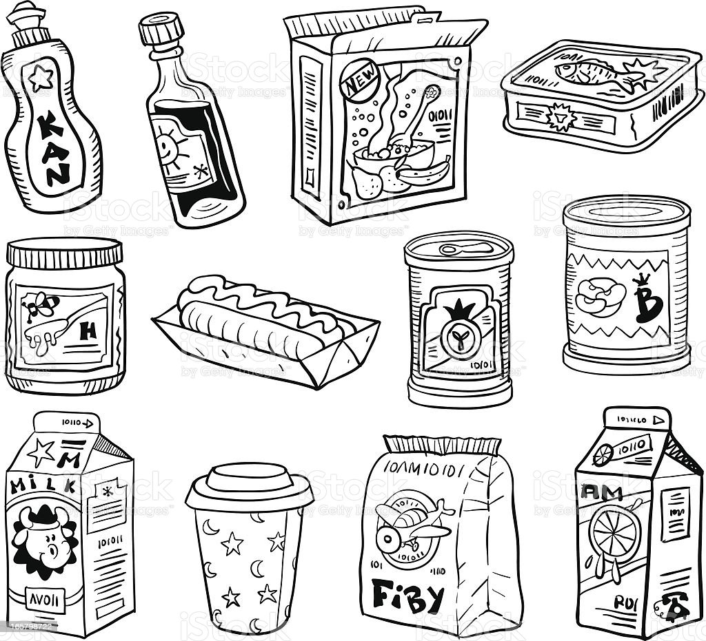 Comic Set Kitchen Packaging vector art illustration