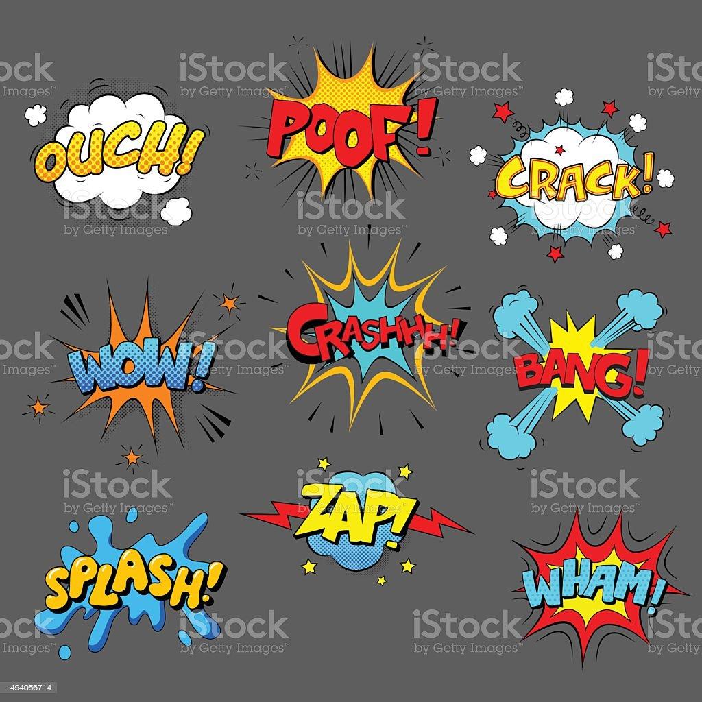 Comic sound effect set vector art illustration