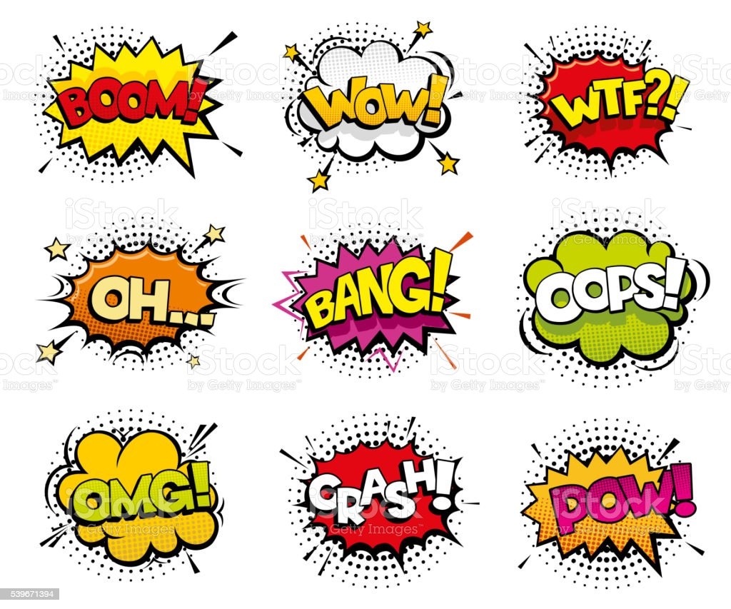 Comic sound effects in pop art vector style vector art illustration