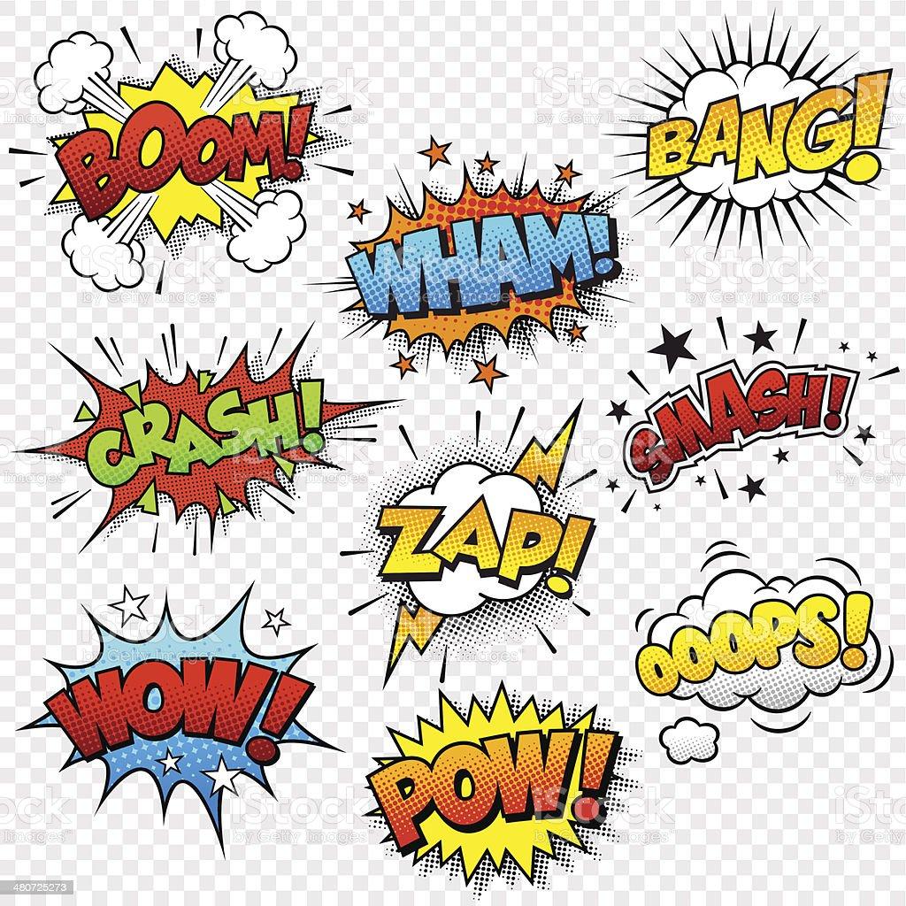 Comic Sound Effects vector art illustration