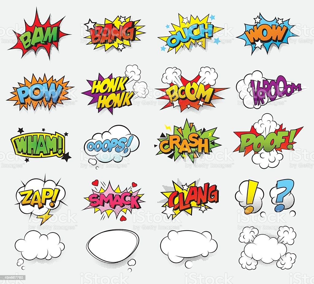 Comic sound effects vector art illustration