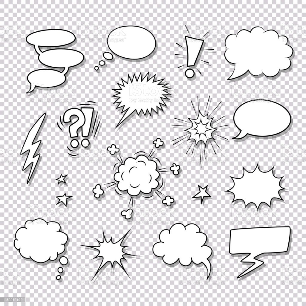 Comic speech bubbles and elements vector set vector art illustration