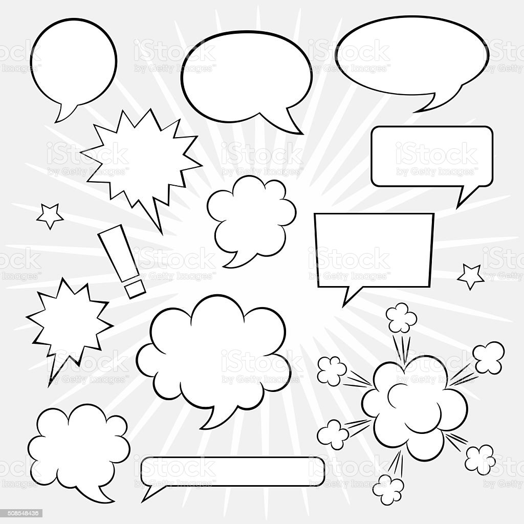 Comic speech bubbles collection vector art illustration
