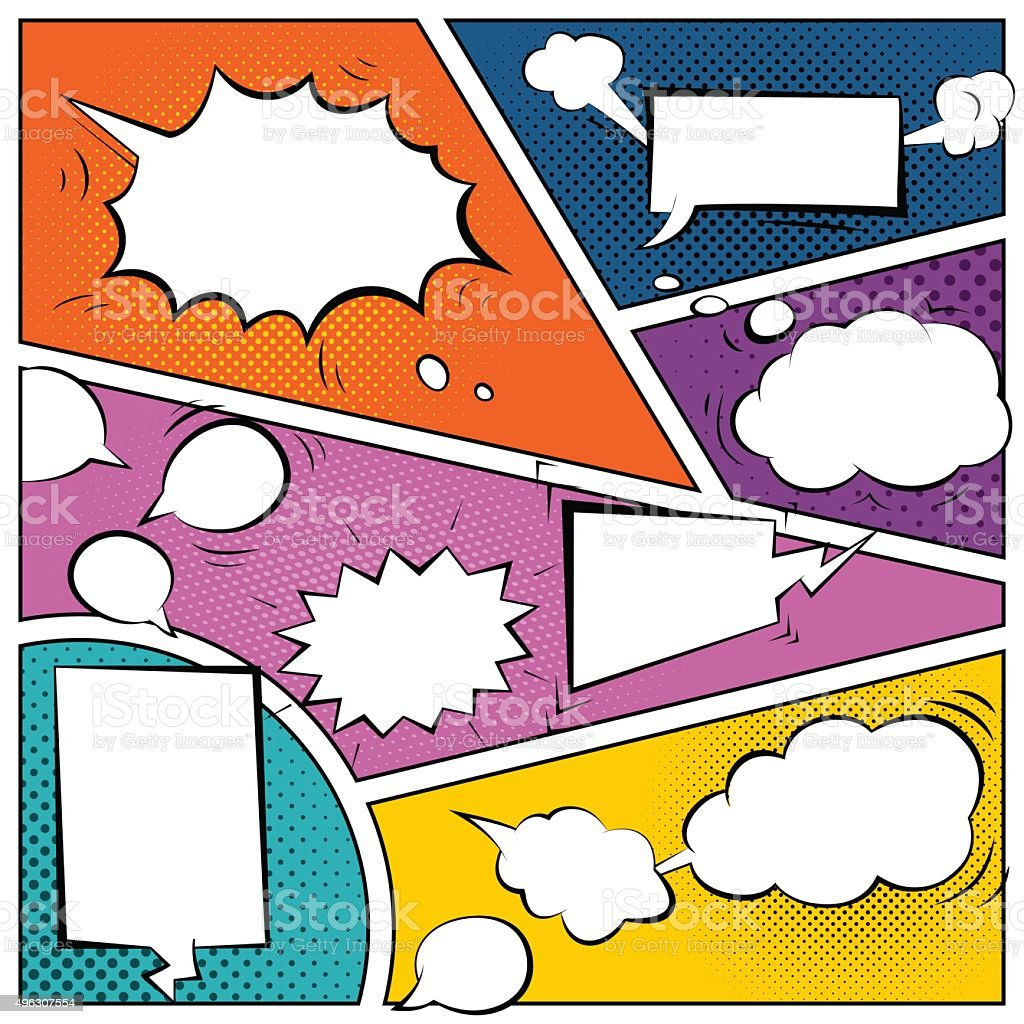 Comic speech bubbles vector art illustration