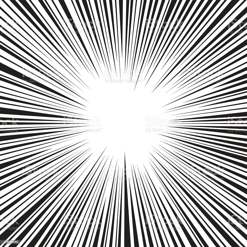 Comic speed radial background vector art illustration