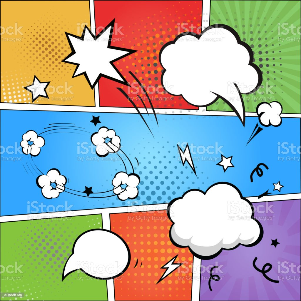 Comic strip  and comic speech  bubbles on colorful halftone background vector art illustration