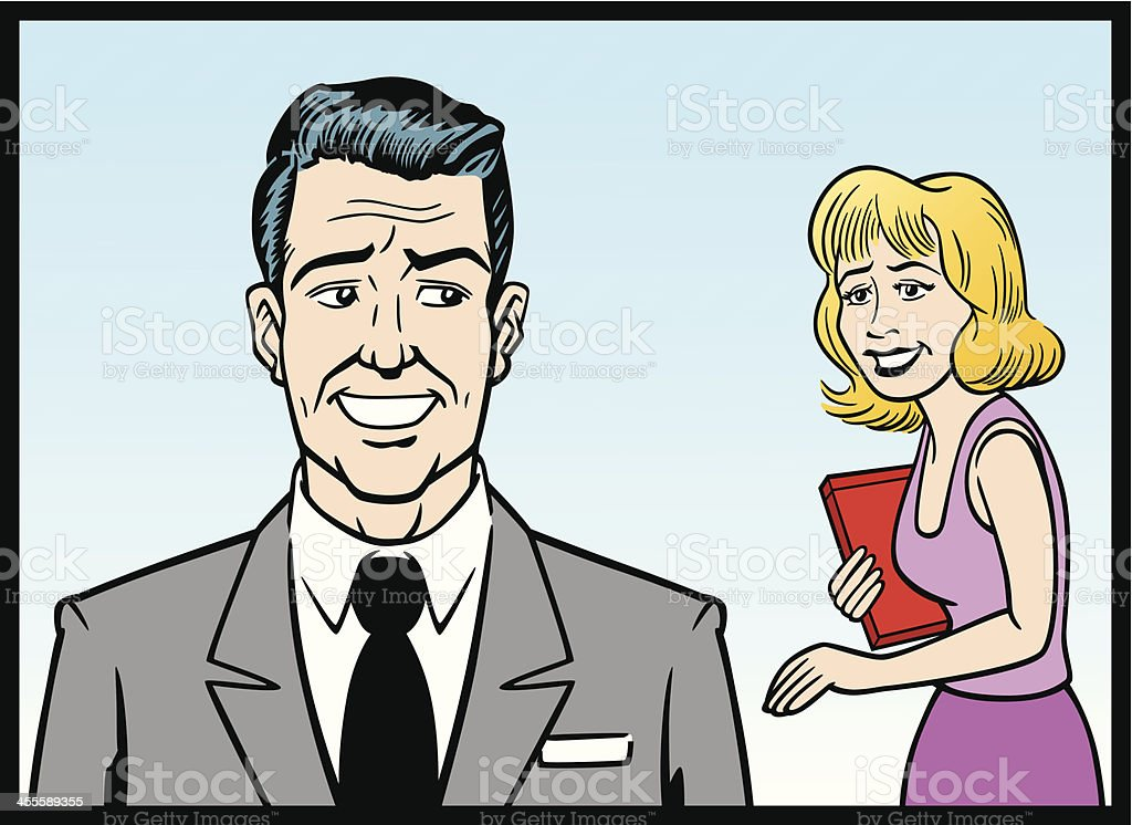 Comic Strip Business Man And Woman royalty-free stock vector art