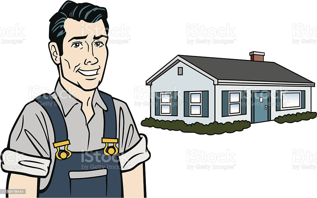Comic Style Builder With House vector art illustration