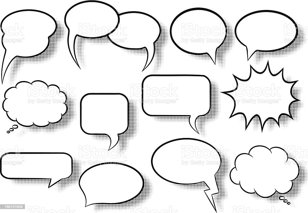 comic style speech bubbles vector art illustration