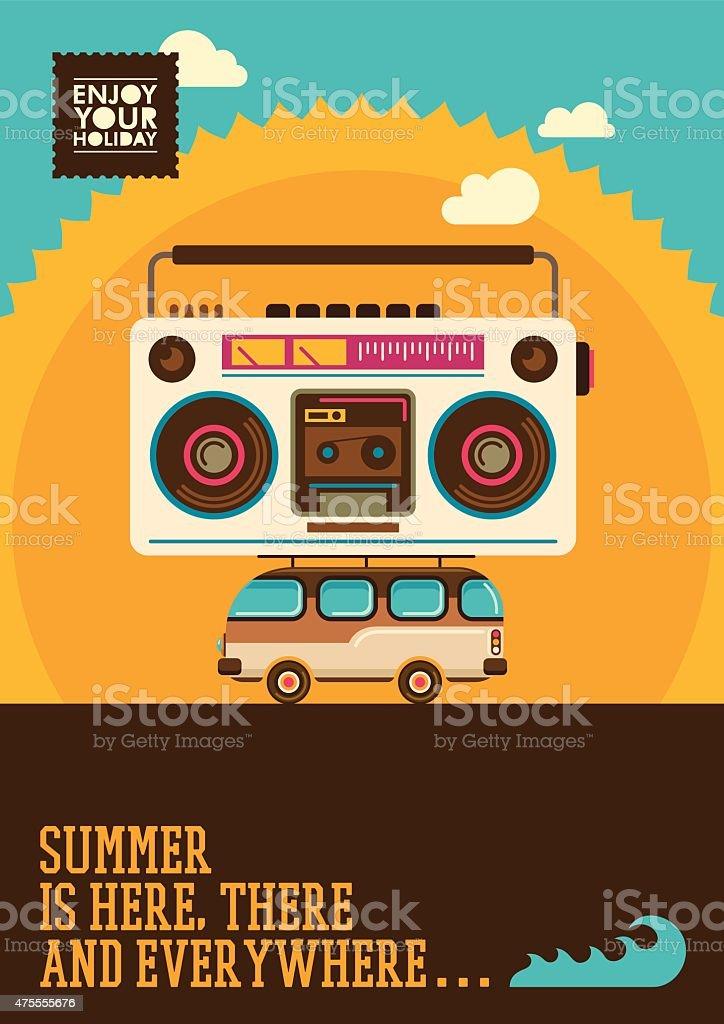 Comic summer poster. vector art illustration