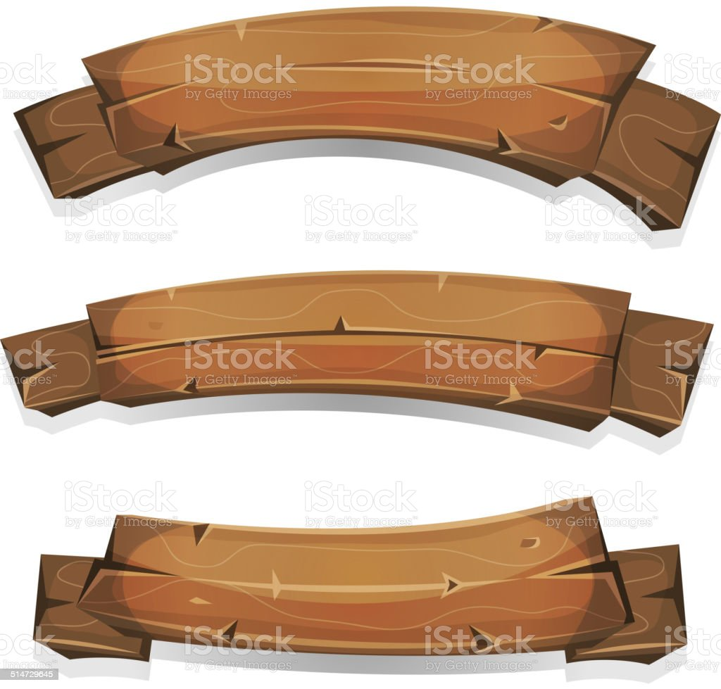 Comic Wood Banners And Ribbons vector art illustration
