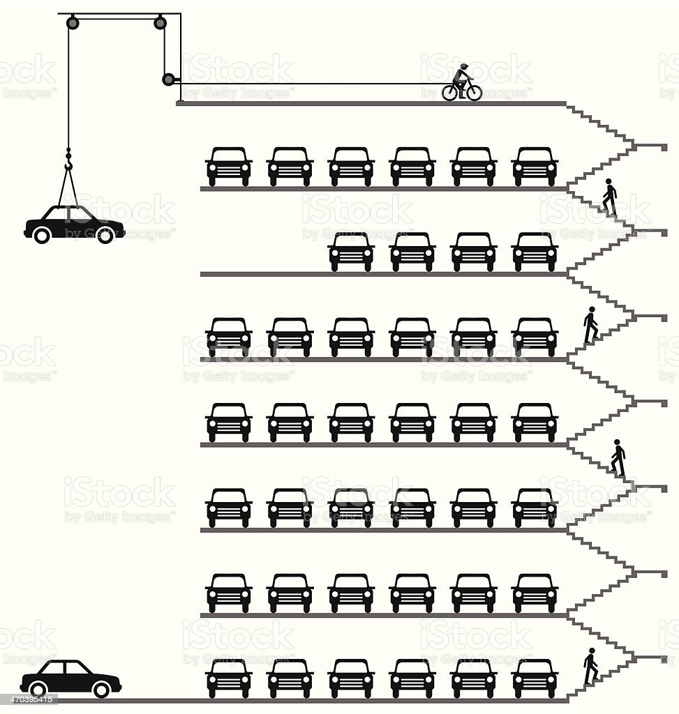 Comical car park vector art illustration