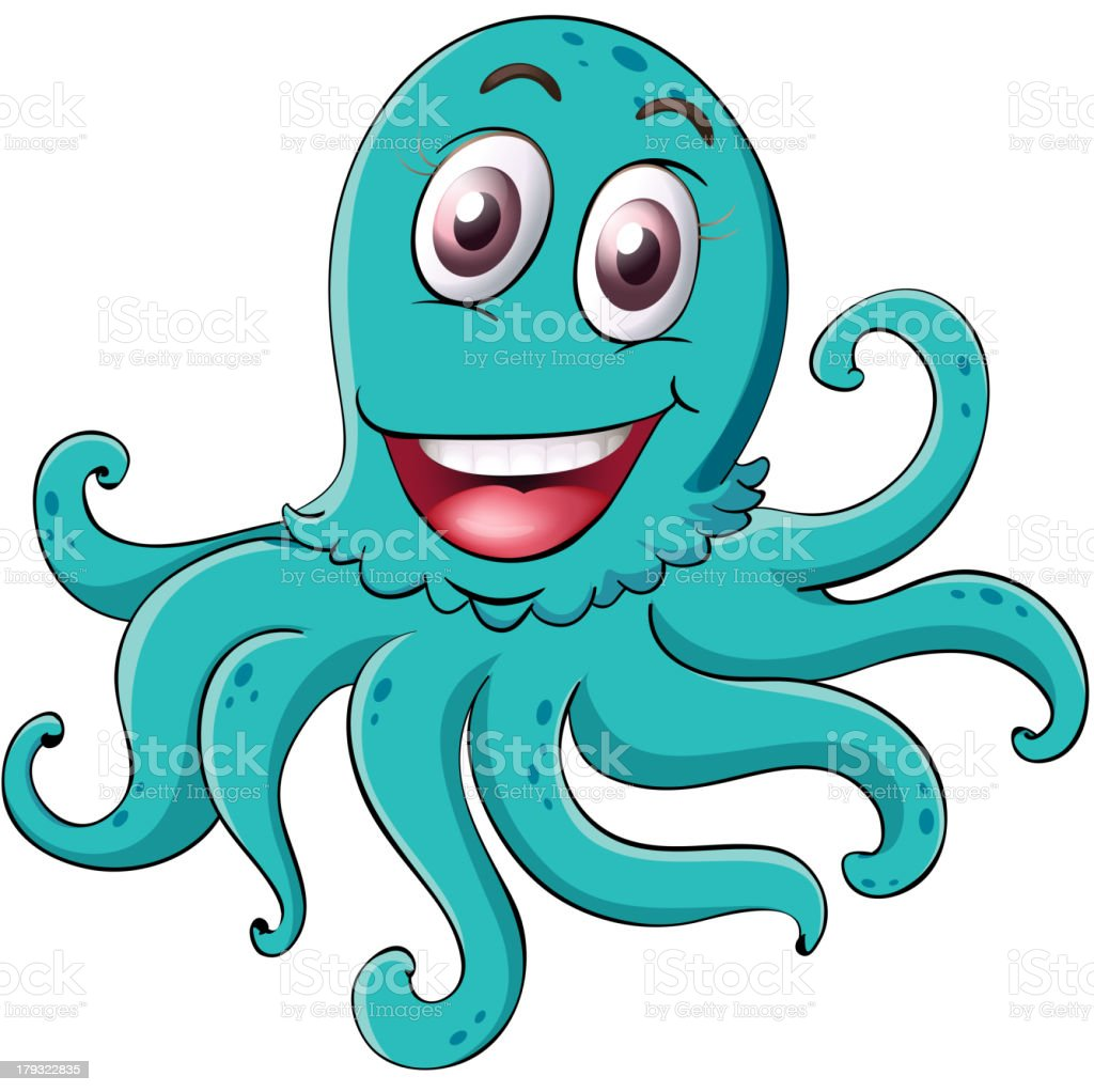 Comical octopus on white royalty-free stock vector art