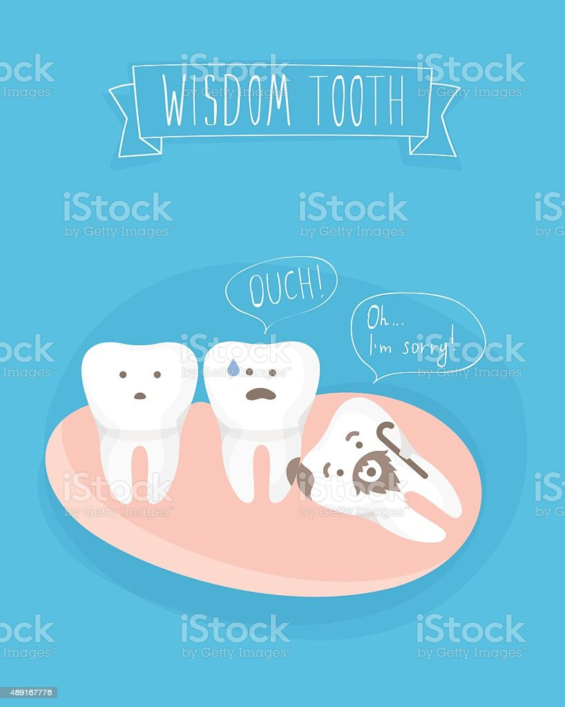 comics about wisdom tooth, vector vector art illustration