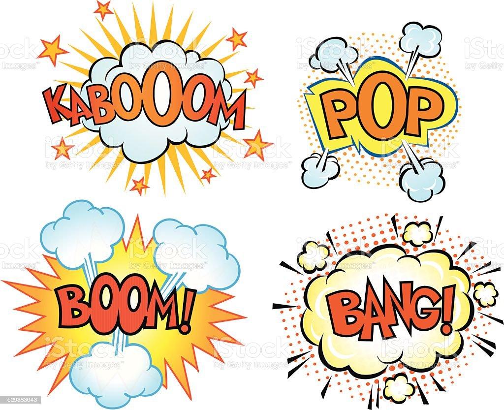 Comics Book Exsplosions Set vector art illustration