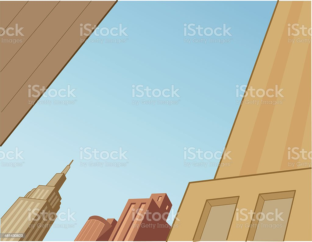 Comics City Skyline Scene For Flying Superheroes royalty-free stock vector art