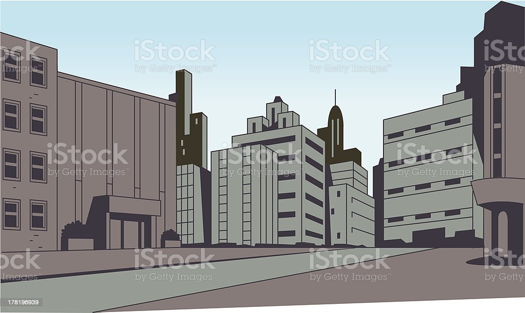 Comics City Street Scene Background royalty-free stock vector art