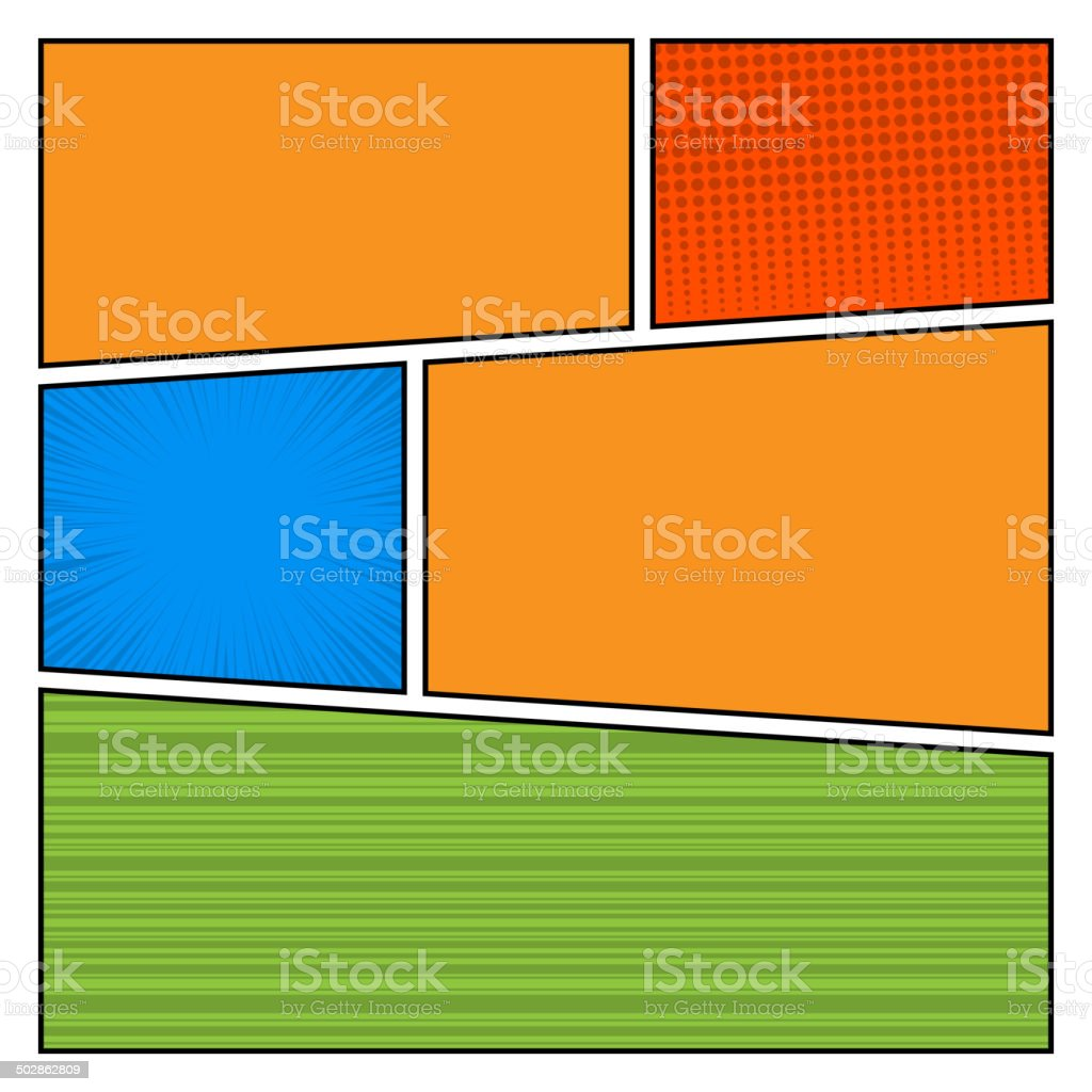 Comics Color pop art style blank layout template with dots royalty-free stock vector art