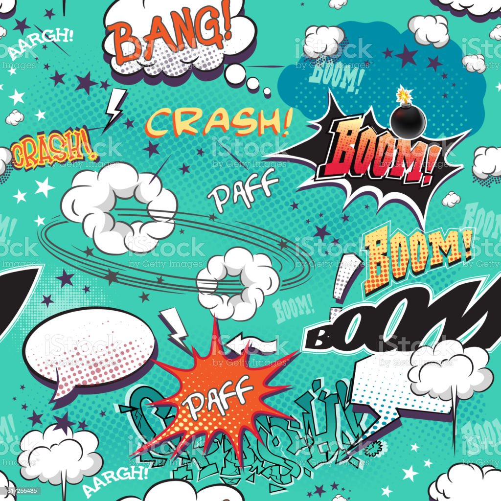 Comics page with bubbles for speech, different sounds and arrows vector art illustration