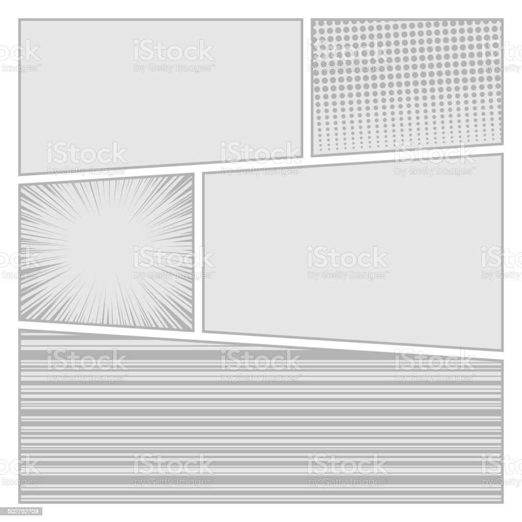 Comics pop art style blank layout template with dots pattern royalty-free stock vector art