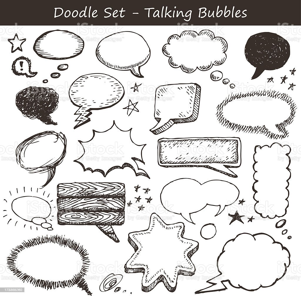 Comics-style speech bubbles vector art illustration