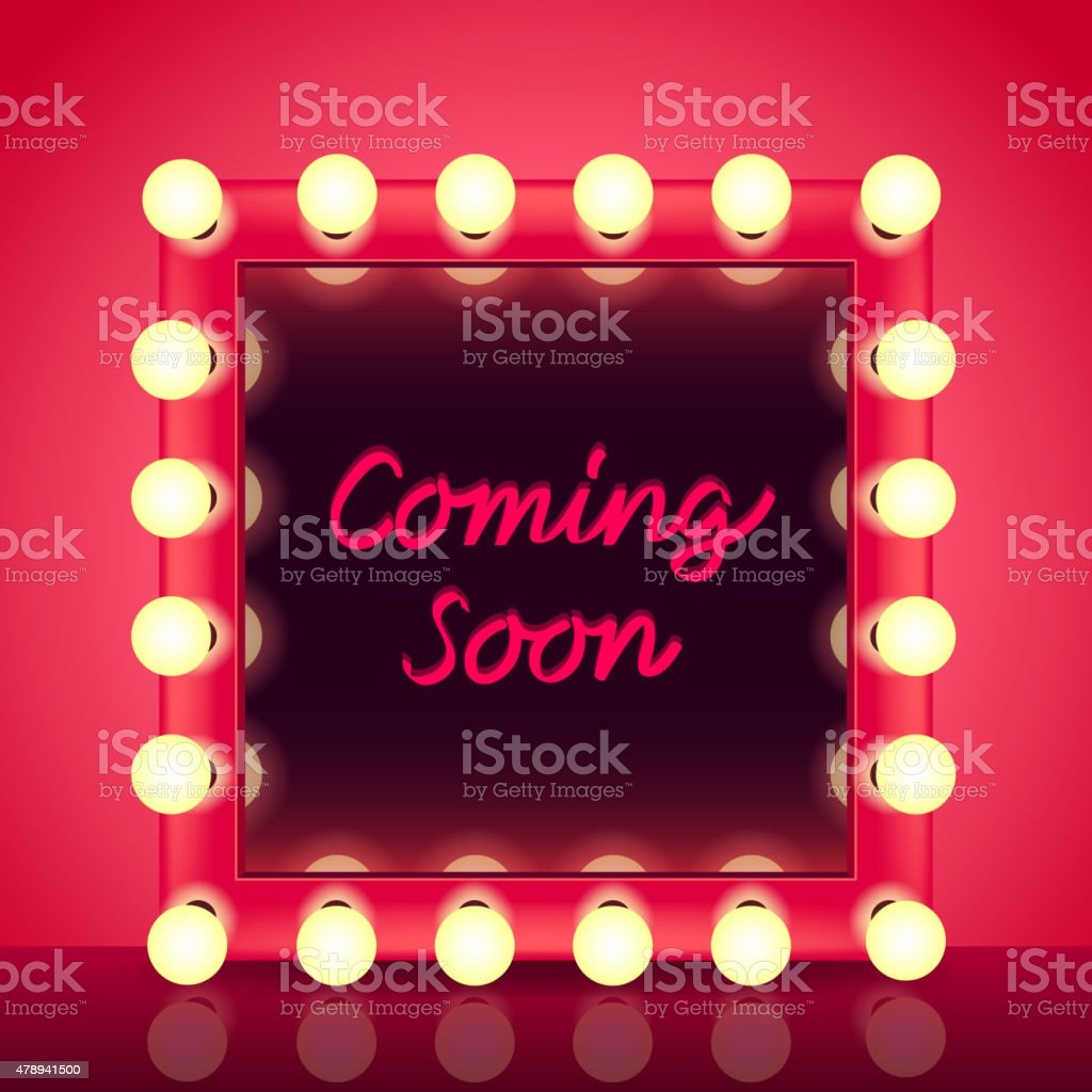 Coming soon concept with makeup mirror vector vector art illustration