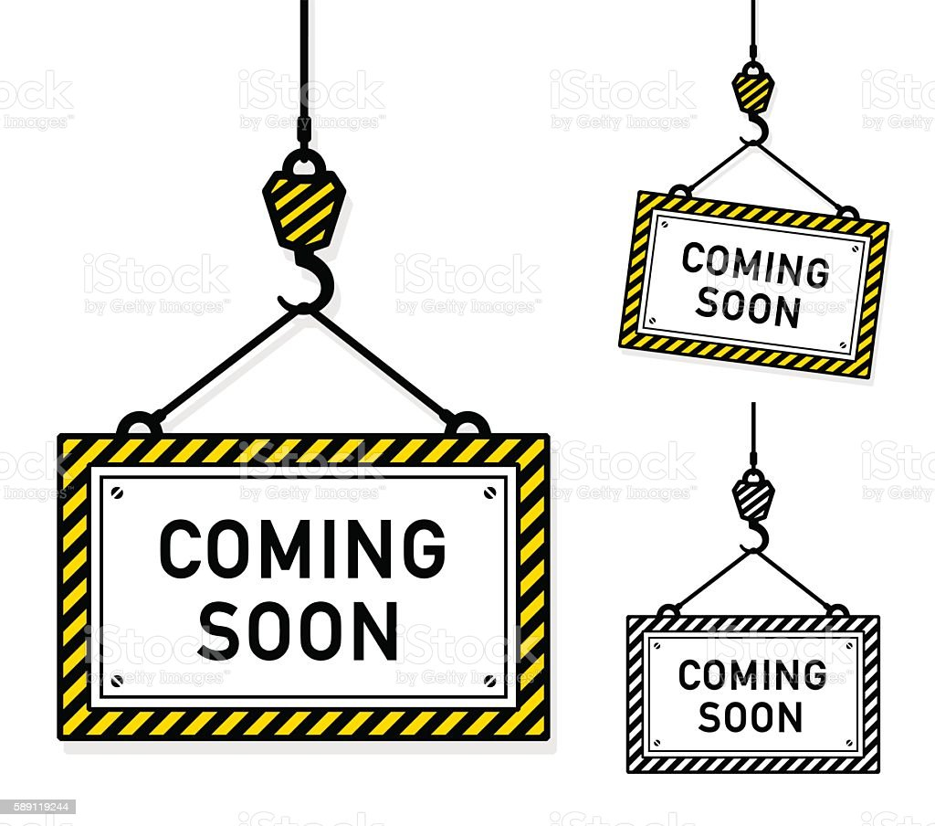 Coming soon hanging signs vector art illustration