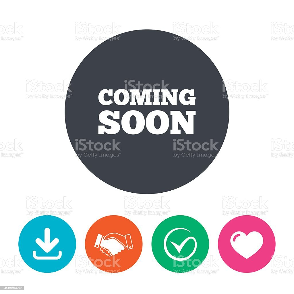 Coming soon icon. Promotion announcement symbol vector art illustration
