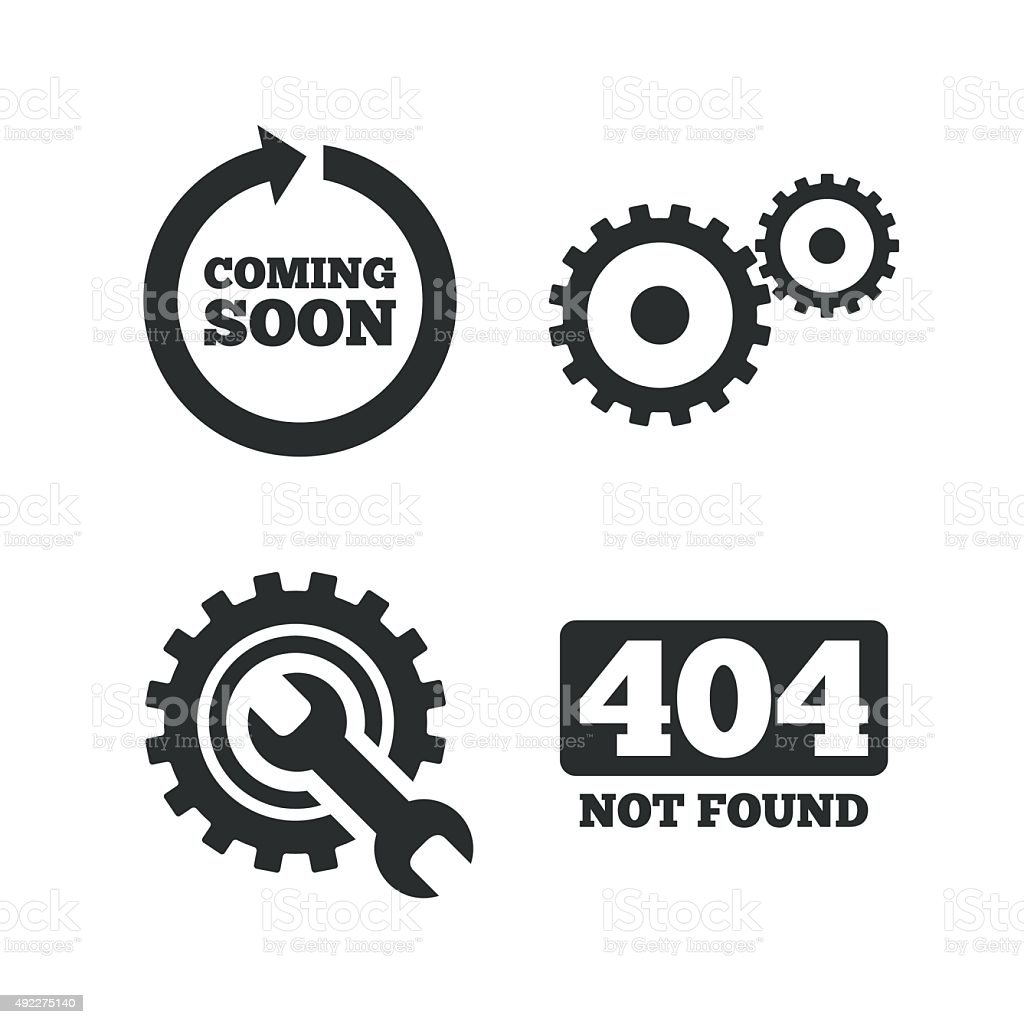 Coming soon icon. Repair service tool and gear vector art illustration