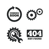 Coming soon icon. Repair service tool and gear