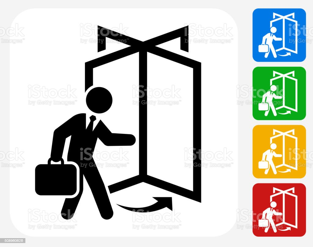 Coming to Work Icon Flat Graphic Design vector art illustration