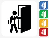 Coming to Work Icon Flat Graphic Design
