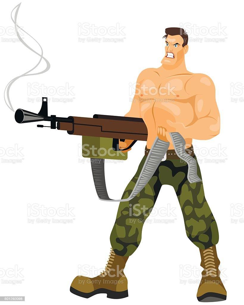 Commando with machine gun vector art illustration