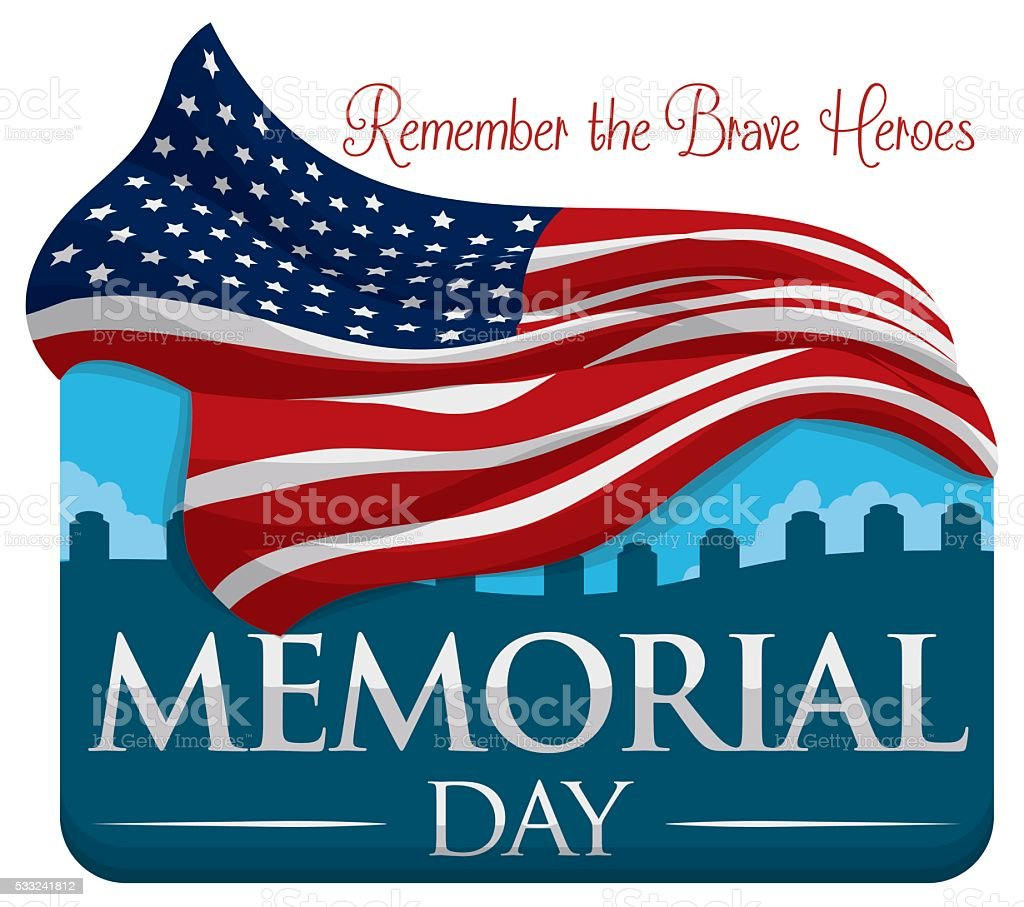 Commemorative Design for Memorial Day with Flag and Cemetery vector art illustration