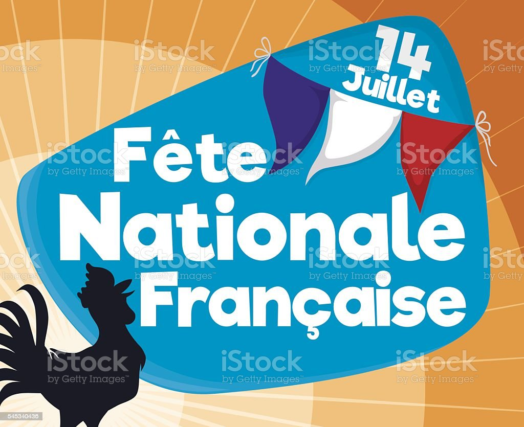 Commemorative Design with Rooster to Celebrate French Independence vector art illustration