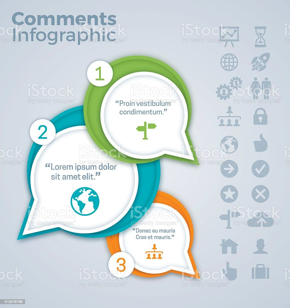 Comments and Quotes Infographic vector art illustration