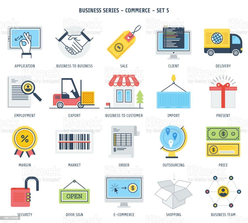 Commerce Icon Set vector art illustration