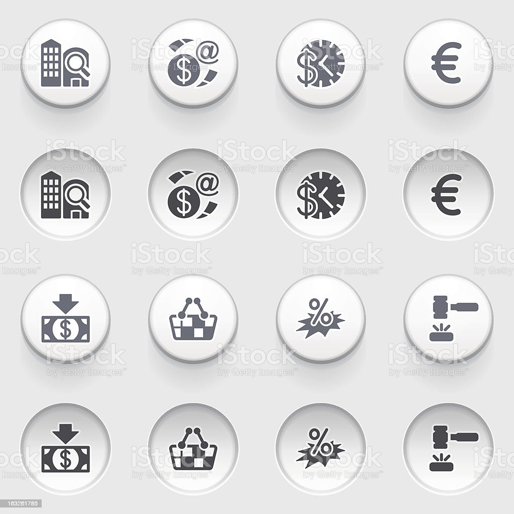 Commerce icons on white buttons. royalty-free stock vector art