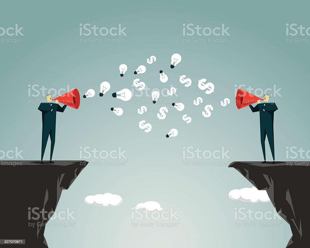 Commercial Activity,Ravine, Cliff, Megaphone, Using Voice, Communication,Message vector art illustration