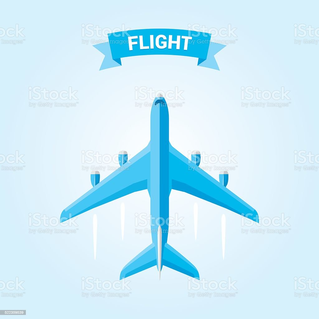 Commercial airplane flight vector art illustration